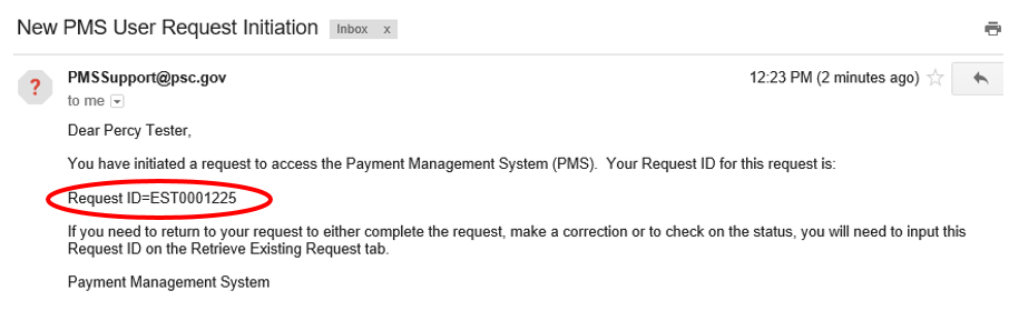 Screen shot of email received after a successful request, with the Request ID circled.