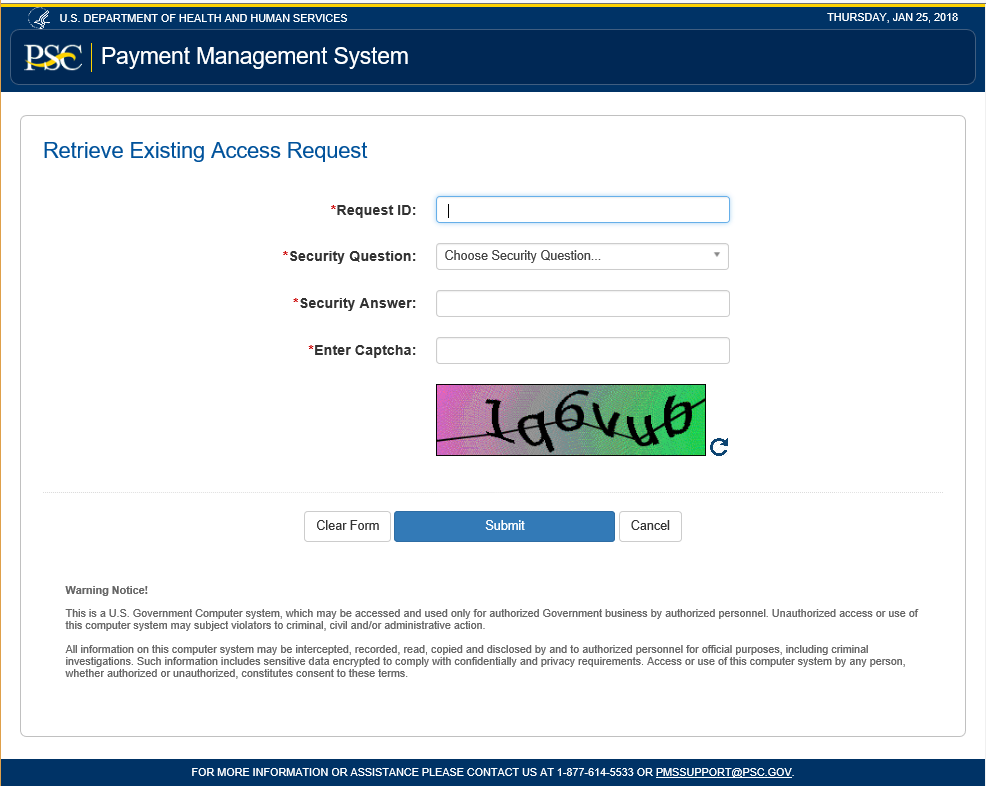 Screen shot of the retrieve existing access request form.