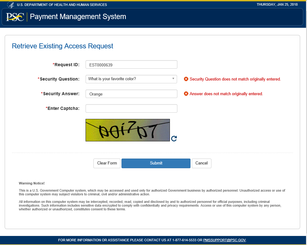 Screen shot of retrieve existing access request form with errors detected.