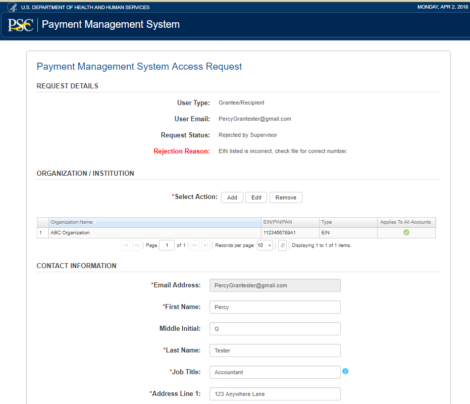 Access New User Request Hhs Psc Fmp Payment Management System