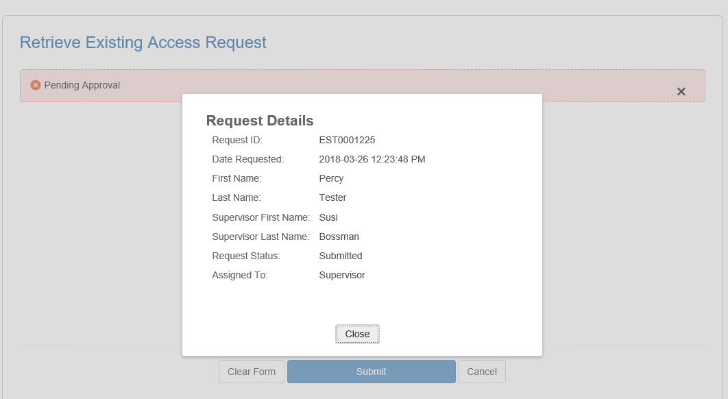 Screen shot of request in progress, with the request details pop-up box showing the request details.