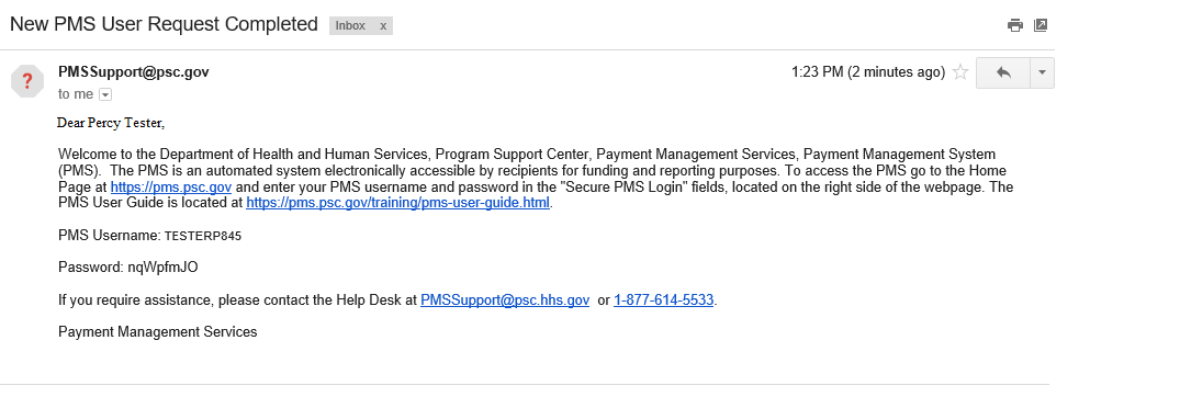 Screen shot of email received with the PMS Username and temporary password.