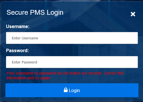 Screen shot of error message received if there are username or password errors.