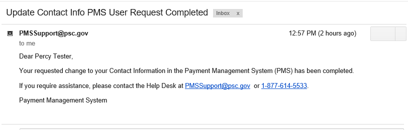 Screen shot of a sample email informing that the change request has been completed.
