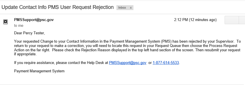 Screen shot of a sample email informing that the change request has been rejected.