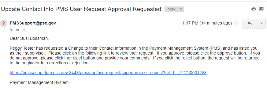 Screen shot of a sample email sent to the supervisor with the change request.