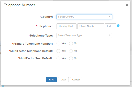 Screen shot of the telephone information fields