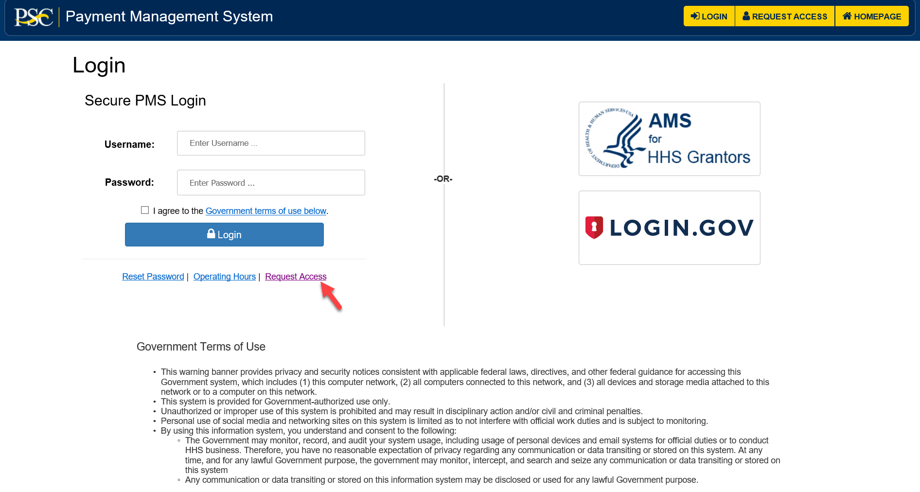 Screen shot of the PMS login page with a red arrow pointing at the Request Access link.