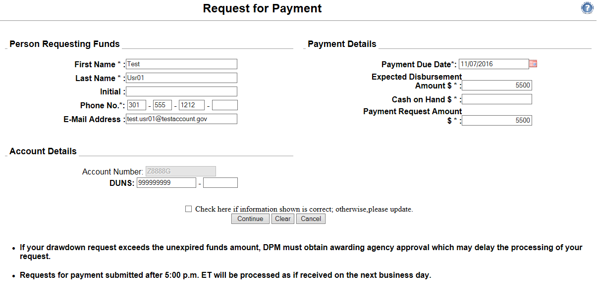 Request for Payment screen shot from PMS