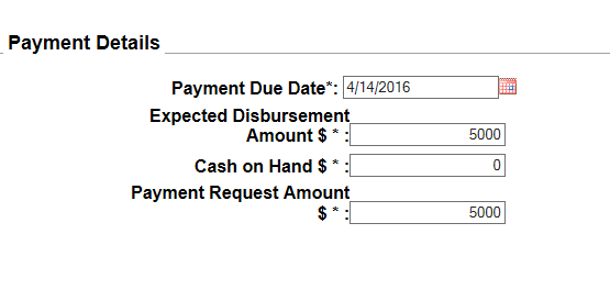 Advanced request type of payment request screen shot from PMS