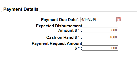 Combination request type of payment request screen shot from PMS