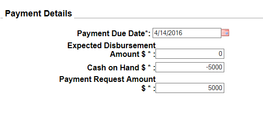 Reimbursable request type of payment request screen shot from PMS